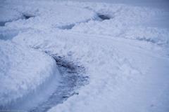 今シーズン初、雪上走行。