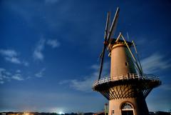 長沼フートピア公園の風車と星空