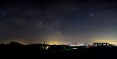 加護坊山からの夜景と天の川