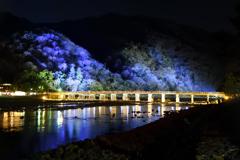 嵐山花灯路 渡月橋ライトアップ