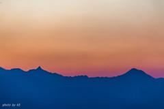 高ボッチ高原の夕景~槍ヶ岳、常念岳