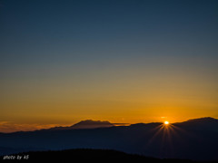 御嶽山日の入り