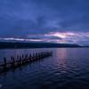 諏訪湖の夜明け