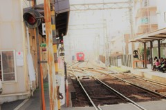 路面電車 阪堺電車 ちんちん電車 日曜日の一コマ