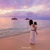妻と娘と海