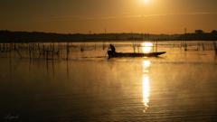 毛嵐と漁船
