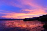☆諏訪湖の燃え尽きる夕焼け