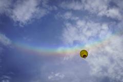 With a rainbow