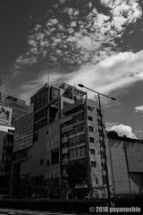 空とビル(モノクロームにすること)