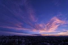 夕日に照らされる雲