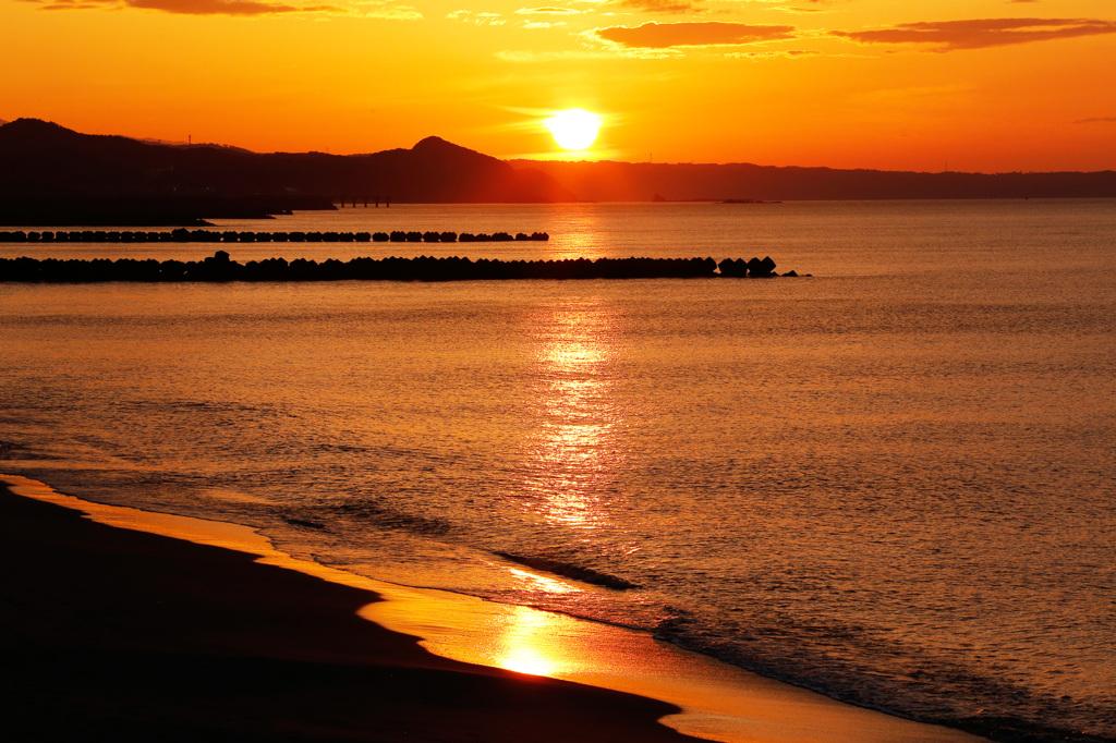 夕陽の日本海