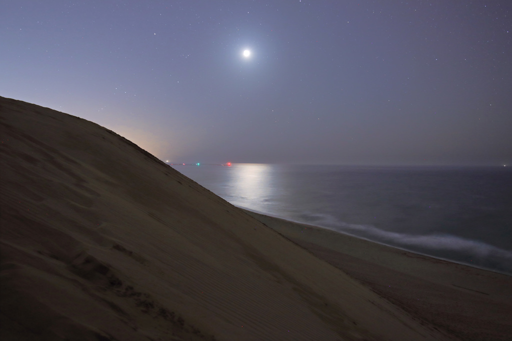 月夜の鳥取砂丘
