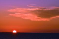 夕陽と茜雲