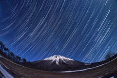 月夜の大山と昇る夏の星座