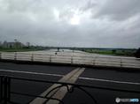 多摩川が水かさが増してる