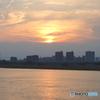 多摩川と沈む太陽