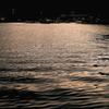 夕日に染まる海