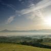 九重連山と朝霧の景