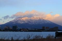 桜島・冠雪