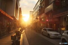 元町の夕日