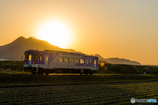 夕日に輝く鉄道