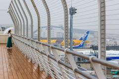 雨の日の空港