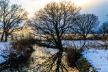 湖北の夕雪景