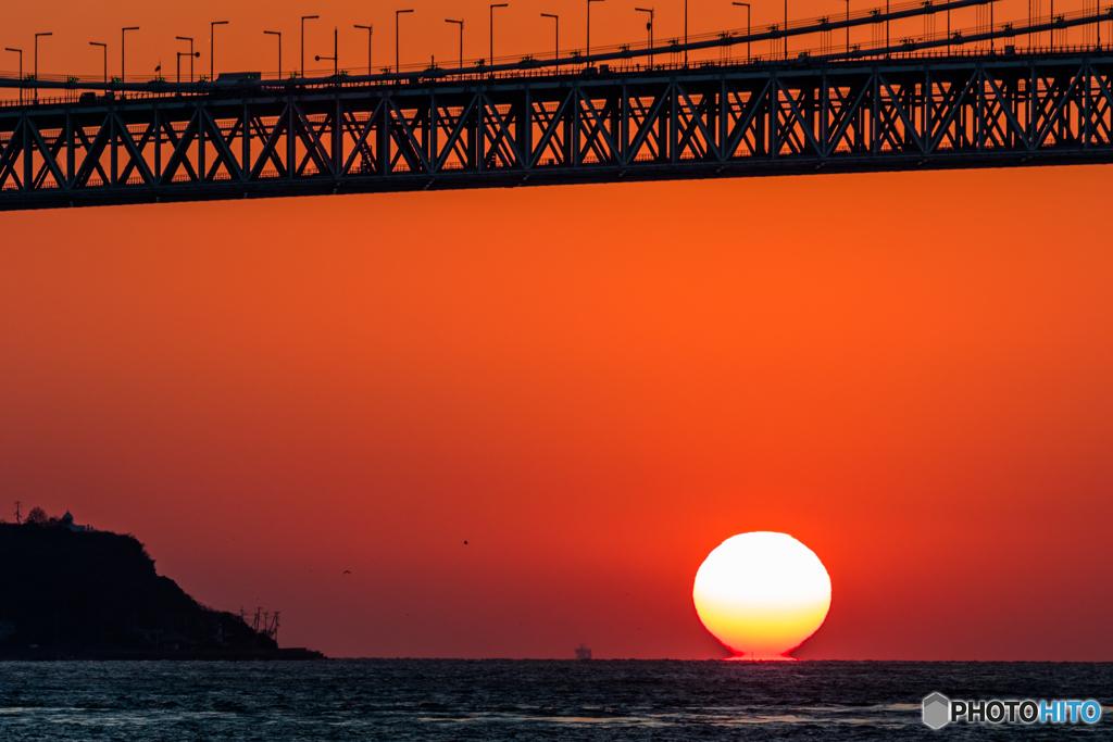 明石海峡夕景色