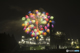 工場夜景と花火