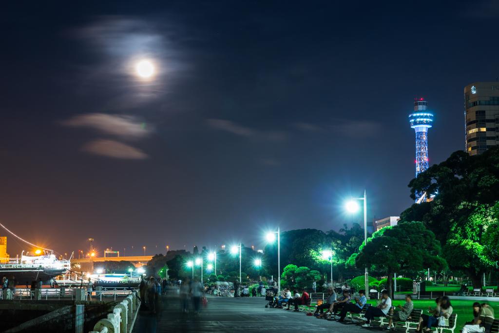 月夜の山下公園