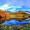 青空の戸隠山と鏡池