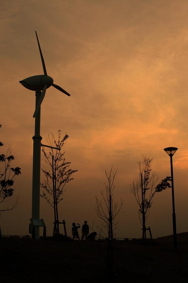 風車のある公園で
