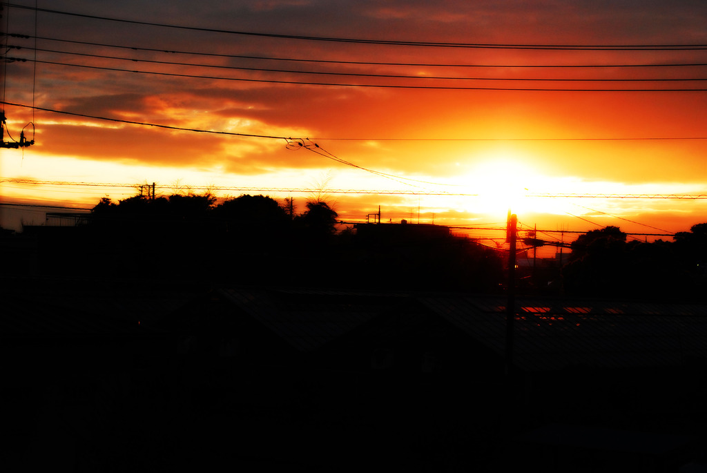 電線と夕雲