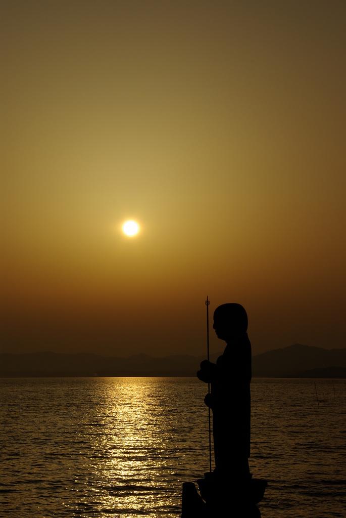 宍道湖夕日withお地蔵さん