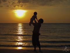 愛娘と夕日と自分
