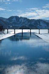 錦秋湖に風景と鉄道が映える!?