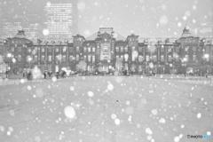 雪降る東京駅