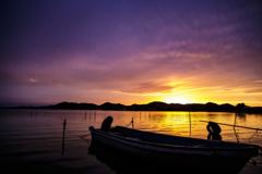 西の湖夕景