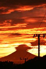 神々しい夕焼け空と富士 ⑥