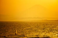 春霞の夕刻...富士と海