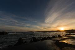 塩屋漁港の日の出