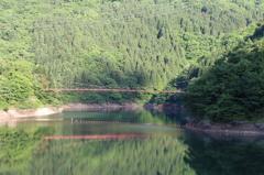 我谷ダムから見た我谷吊橋3回目