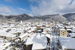 湯けむりの町の冬景色