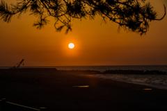 ヒスイ海岸の夕陽
