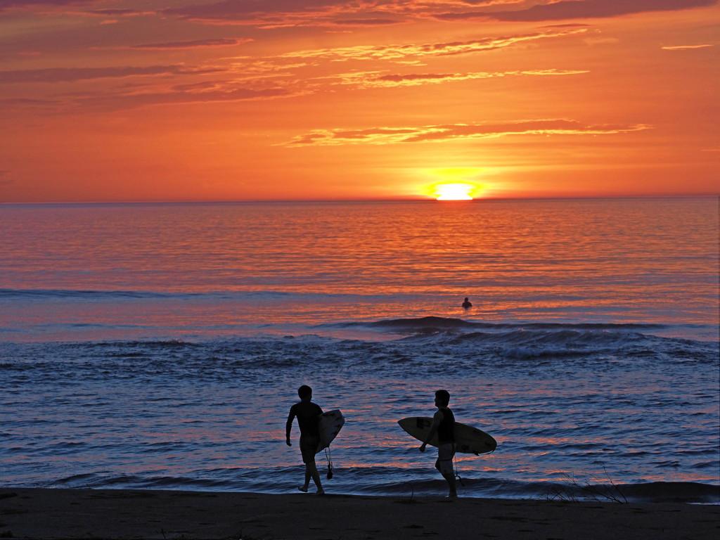 日の出のサーファー