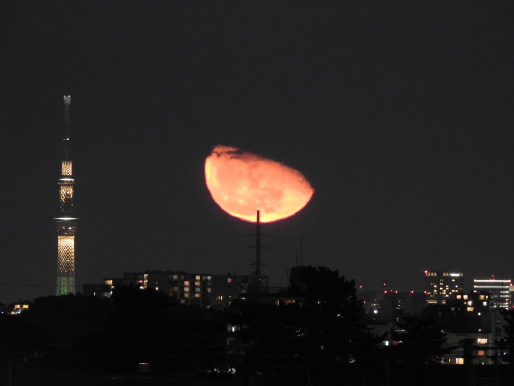 鉄塔と月の出