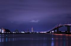冷たい朝の廿日市大橋