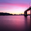 薄紫に焼ける大橋