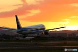 夕暮れの中の着陸機
