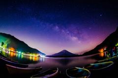 湖畔から星空を望む #2
